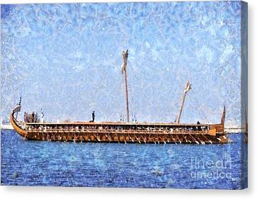 Painting Of An Ancient Trireme Canvas Print by George Atsametakis