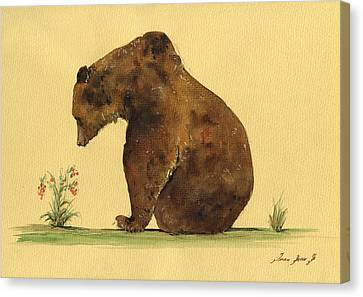 Kid Wall Art Canvas Print - Grizzly Bear Watercolor Painting by Juan  Bosco