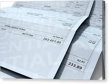 Income Inequality Paychecks Canvas Print