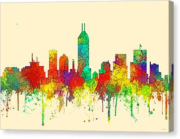 Indiana Landscapes Canvas Print - Indiana Indianapolis Skyline by Marlene Watson