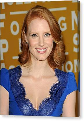 Jessica Chastain At Arrivals Canvas Print