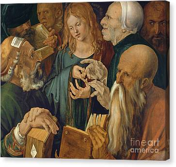 Jesus Among The Doctors Canvas Print by Albrecht Durer