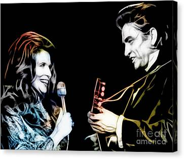 June Carter And Johnny Cash Collection Canvas Print by Marvin Blaine