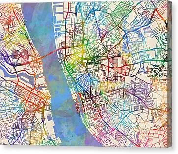 Liverpool England Street Map Canvas Print by Michael Tompsett