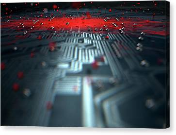 Macro Circuit Board Infection Canvas Print by Allan Swart