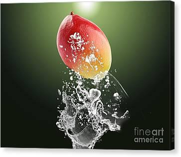Mango Splash Canvas Print by Marvin Blaine