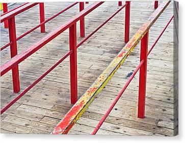 Wooden Platform Canvas Print - Metal Railings by Tom Gowanlock