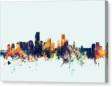 Miami Florida Skyline Canvas Print by Michael Tompsett