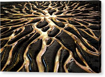 Molten Gold Seeping Out Of Rock Canvas Print
