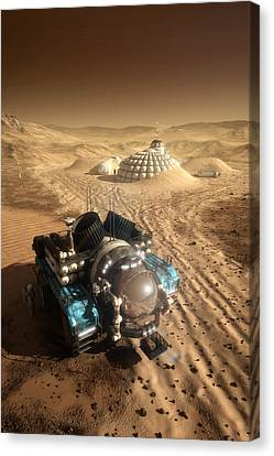 Canvas Print featuring the digital art Mars Exploration Vehicle by Bryan Versteeg