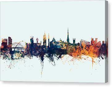 United Kingdom Canvas Print - Newcastle England Skyline by Michael Tompsett