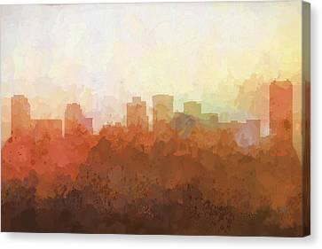 Canvas Print featuring the digital art Norfolk Virginia Skyline by Marlene Watson