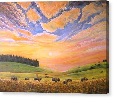 O Give Me A Home Where The Buffalo Roam Canvas Print by Connie Tom