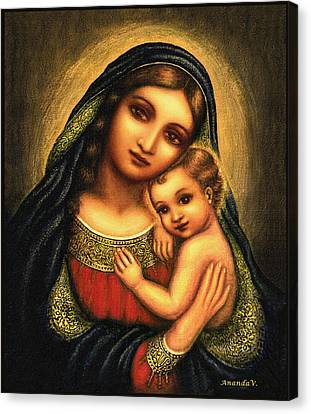Oval Madonna Canvas Print by Ananda Vdovic