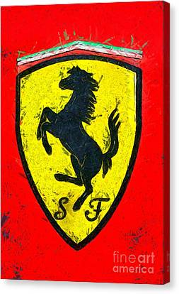 Painting Of Ferrari Badge Canvas Print