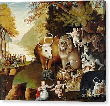 Peaceable Kingdom Canvas Print by Edward Hicks