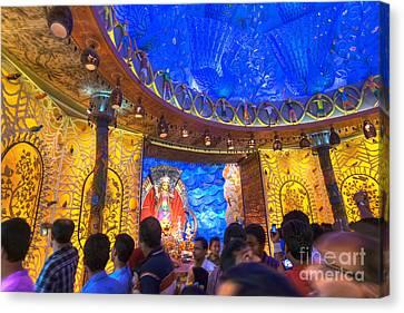 People Enjoying Inside Durga Puja Pandal Durga Puja Festival Canvas Print by Rudra Narayan  Mitra