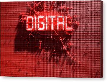 Binary Canvas Print - Pixel Digital Concept by Allan Swart