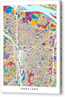 Portland Oregon City Map Canvas Print by Michael Tompsett