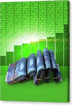 Positive Market Money Canvas Print by Allan Swart