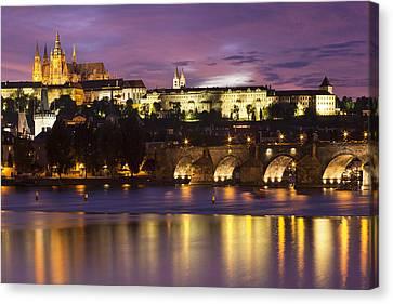 River Scenes Canvas Print - Prague Castle And Charles Bridge by Andre Goncalves