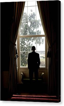 21st Century Canvas Print - President Barack Obama Looks by Everett
