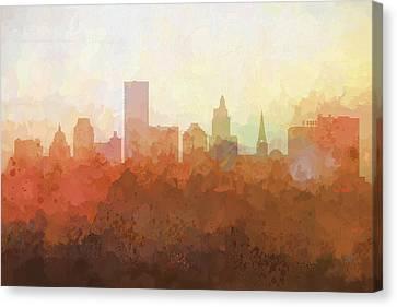 Canvas Print featuring the digital art Providence Rhode Island Skyline by Marlene Watson