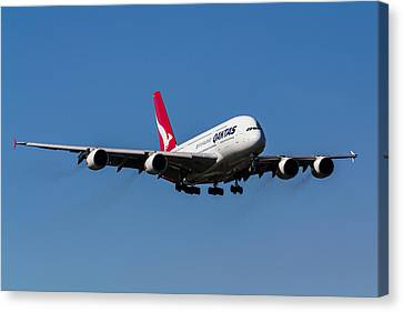 Qantas Airbus A380 Canvas Print by David Pyatt