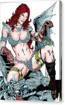 Red Sonja Canvas Print by Bill Richards