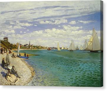 Regatta At Sainte-adresse Canvas Print by Claude Monet