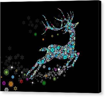 Backdrop Canvas Print - Reindeer Design By Snowflakes by Setsiri Silapasuwanchai