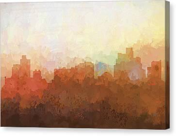 Canvas Print featuring the digital art Reno Nevada Skyline by Marlene Watson