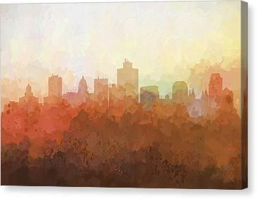 Canvas Print featuring the digital art Salt Lake City Utah Skyline by Marlene Watson