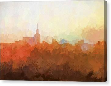 Canvas Print featuring the digital art Santa Fe New Mexico Skyline by Marlene Watson