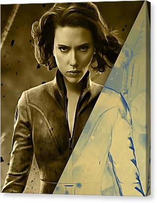 Scarlett Johansson Black Widow Collection Canvas Print by Marvin Blaine