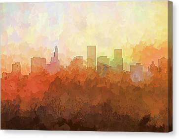 Canvas Print featuring the digital art St Paul Minnesota Skyline by Marlene Watson