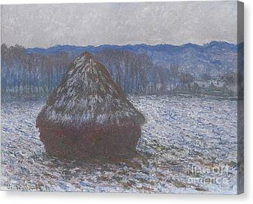 Thaw Canvas Print - Stack Of Wheat by Claude Monet