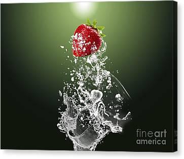 Strawberry Canvas Print - Strawberry Splash by Marvin Blaine