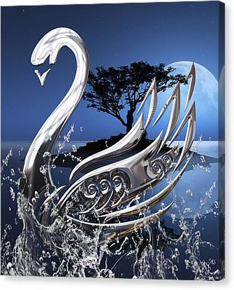 Swans Canvas Print - Swan Art. by Marvin Blaine