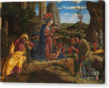 The Adoration Of The Shepherds Canvas Print by Andrea Mantegna