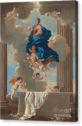 The Assumption Of The Virgin Canvas Print by Nicolas Poussin