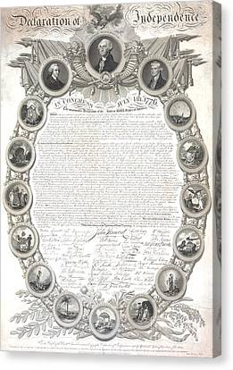 Philadelphia History Canvas Print -  The Declaration Of Independence  by American School