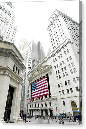The Facade Of The New York Stock Canvas Print by Justin Guariglia