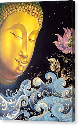 Canvas Print featuring the painting The Light Of Buddhism by Chonkhet Phanwichien
