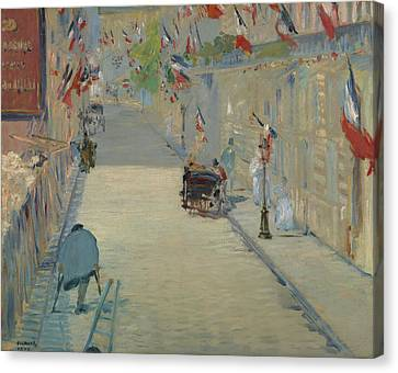 Crutch Canvas Print - The Rue Mosnier With Flags by Edouard Manet