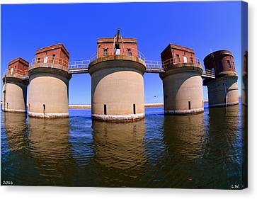 5 Towers At Dreher Shoals Dam On Lake Murray Sc Canvas Print by Lisa Wooten