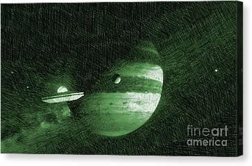 Bizarre Canvas Print - Ufo In Space by Raphael Terra