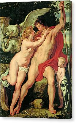 Venus And Adonis Canvas Print by Peter Paul Rubens