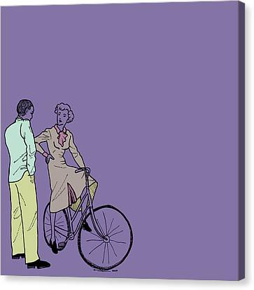 Vintage Bike Couple Canvas Print by Karl Addison