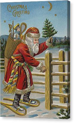 St. Nicholas Canvas Print - Vintage Christmas Card by English School